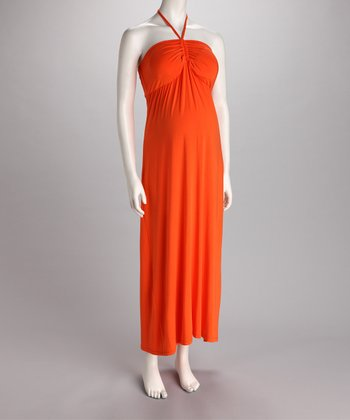 Orange Ruched Halter Maternity Maxi Dress