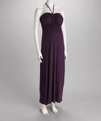 Purple Ruched Halter Maternity Maxi Dress