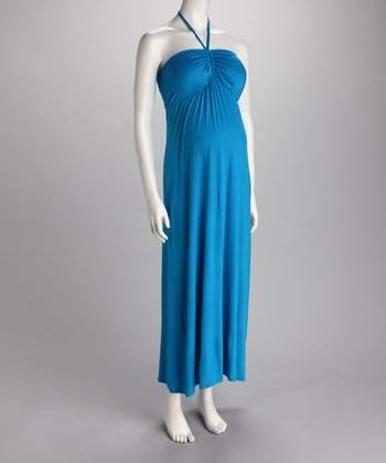 Turquoise Ruched Halter Maternity Maxi Dress