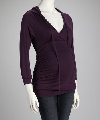 Purple Ruched Hooded Maternity Top