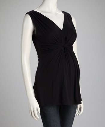 Black Knotted Maternity Sleeveless Top