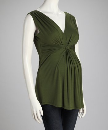 Olive Knotted Maternity Sleeveless Top