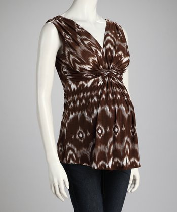 Brown Tie-Dye Knotted Maternity Sleeveless Top