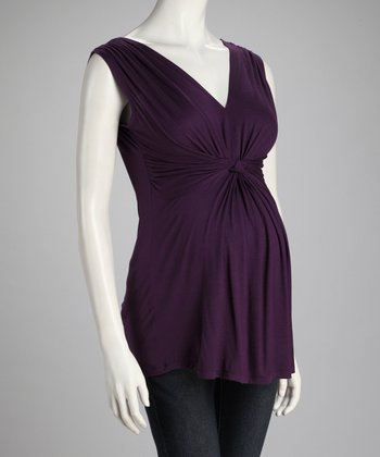 Purple Knotted Maternity Sleeveless Top