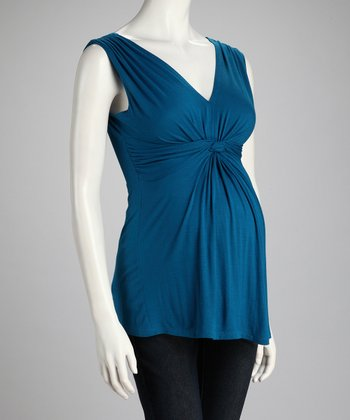 Teal Knotted Maternity Sleeveless Top