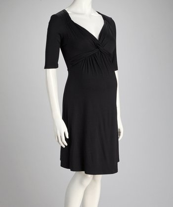 Black Front-Tie Maternity Dress