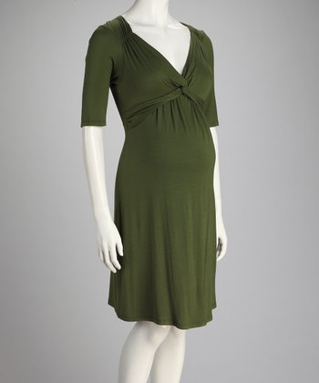 Olive Front-Tie Maternity Dress