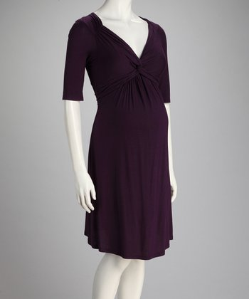 Purple Front-Tie Maternity Dress