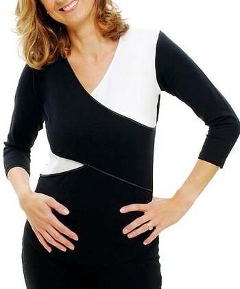 Black Maternity & Nursing Three-Quarter Sleeve Top
