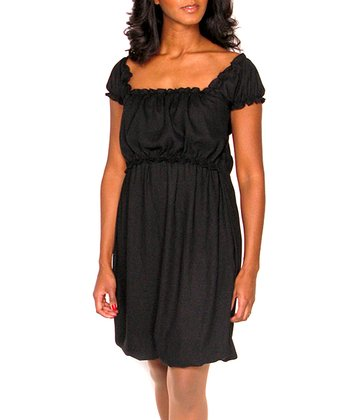 Black Emma Chiffon Maternity & Nursing Dress - Women