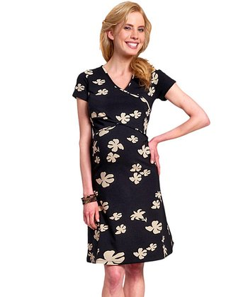 Black Bloom Organic Maternity & Nursing Crisscross Dress