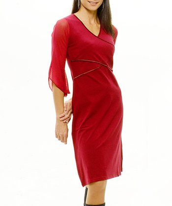 Bordeaux Angel-Cuff Maternity & Nursing Dress
