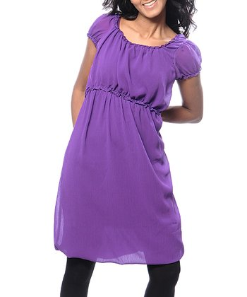 Purple Liliana Chiffon Maternity & Nursing Dress - Women & Plus