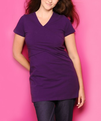Purple Organic Maternity & Nursing V-Neck Tunic