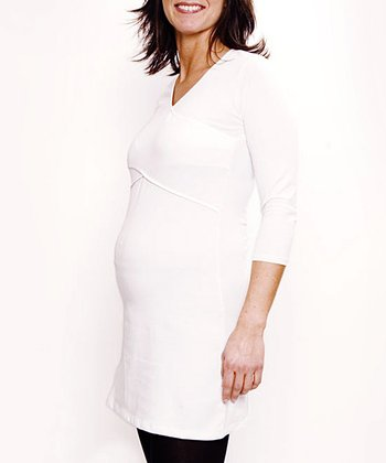 White Maternity & Nursing Three-Quarter Sleeve Tunic