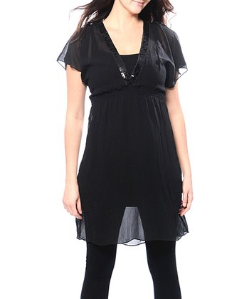 Black Palijette June Maternity & Nursing Dress - Women