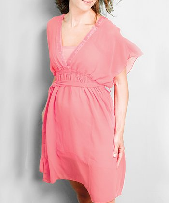 Coral June Chiffon Maternity & Nursing Dress - Women