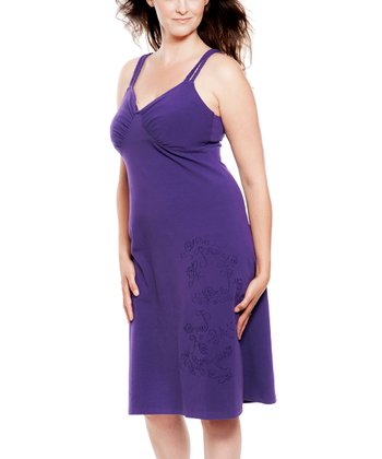 Grape Embroidered Braided Organic Nursing Dress