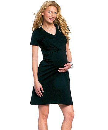 Black Organic Maternity & Nursing Crisscross V-Neck Dress
