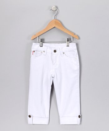 White Denim Capri Pants - Girls