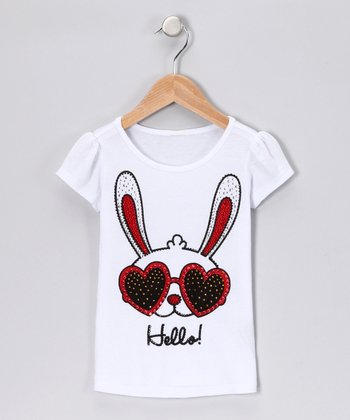 White Groovy Bunny 'Hello' Tee - Girls