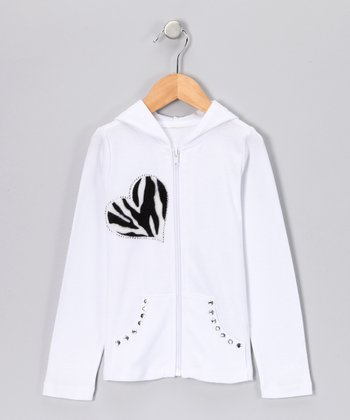 White Zebra 'Love' Zip-Up Hoodie - Toddler & Girls