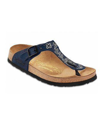 Blue Flower Stitch Gizeh Satin Sandal