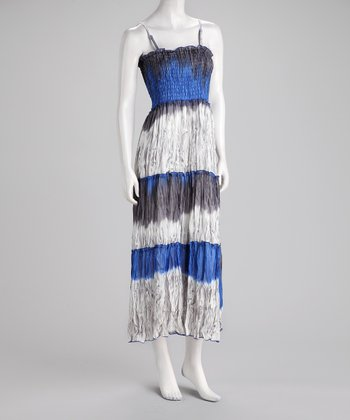 Blue & Gray Tie-Dye Smocked Maxi Dress