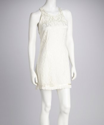 Ivory Lace Cutout Back Dress