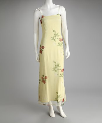 Yellow Floral Chiffon Maxi Dress