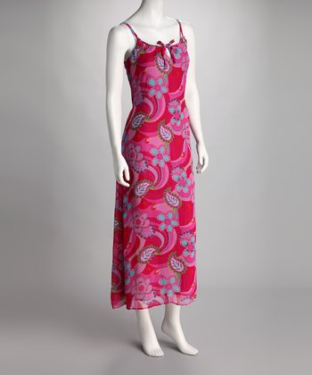 Hot Pink & Red Floral Maxi Dress