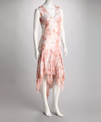 Peach & Cream Floral Handkerchief Dress