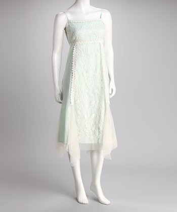 Mint & Ivory Embroidered Chiffon Dress