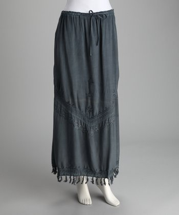Gray Blue Embroidered Maxi Skirt