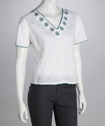 White & Green Embroidered Top