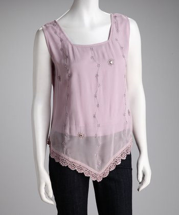 Lavender Embroidered Handkerchief Top