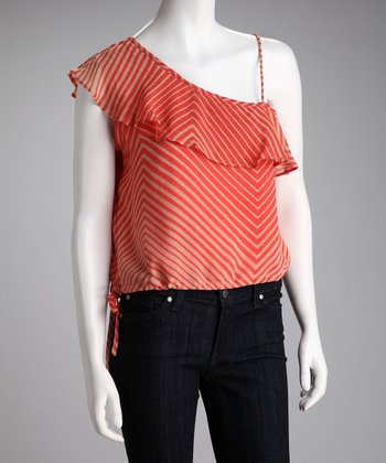 Coral Stripe Asymmetrical Top