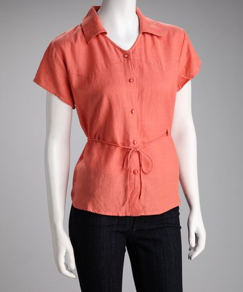 Coral Linen-Blend Button-Up Top