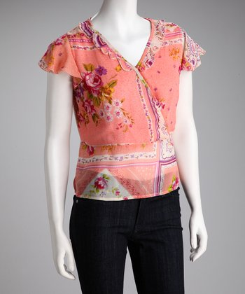 Peach Floral Surplice Top