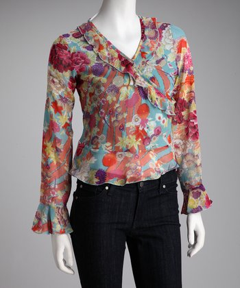 Blue Floral Surplice Top