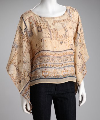 Tan & Blue Sequin Cape-Sleeve Top