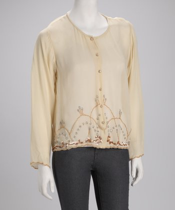 Ivory Beaded Button-Up Top