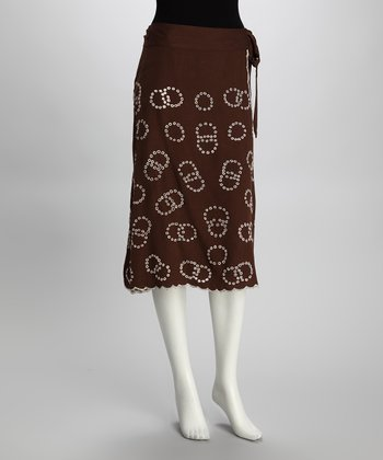 Brown Circle Tie-Waist Skirt