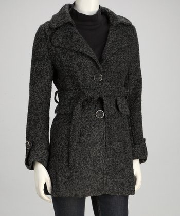 Black & Charcoal Belted Wool-Blend Jacket