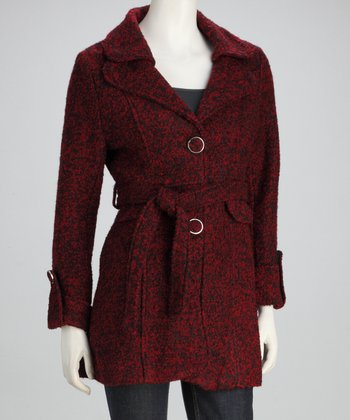 Red & Black Belted Wool-Blend Jacket