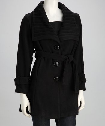 Belted Oversize Collar Jacket