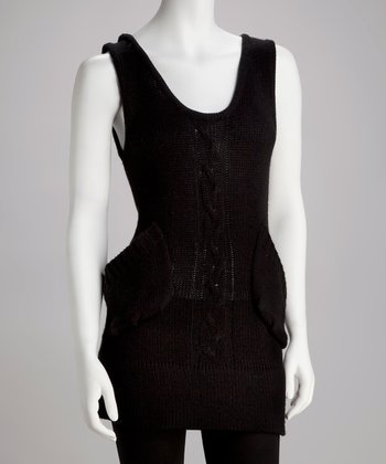 Black Cable-Knit Wool-Blend Sleeveless Sweater