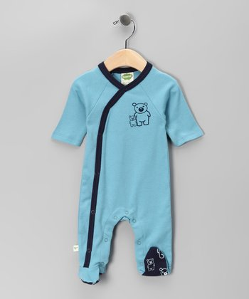 Turquoise Bear Organic Wrap Footie - Infant