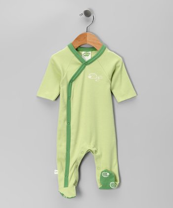 Green Hedgehog Organic Wrap Footie - Infant