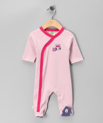 Pink Owl Organic Wrap Footie - Infant